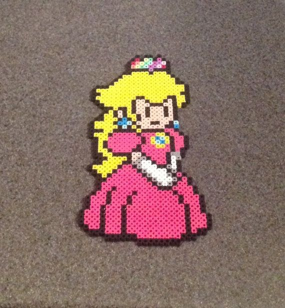 Princess Peach Paper Mario Video Game Fan Art Nerdy Geeky Home Decor For Gamers Perler Bead Art Perler Bead Mario Perler Beads