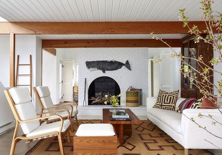 Interni Case Moderne Salotto Con Un Set Di Mobili Di Colore Bianco