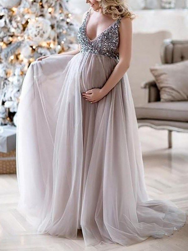 9a5ce866520b8 Lilac Patchwork Sequin Grenadine V-neck Sleeveless Mermaid Pregnant  Photoshoot Elegant Maternity Maxi Dress
