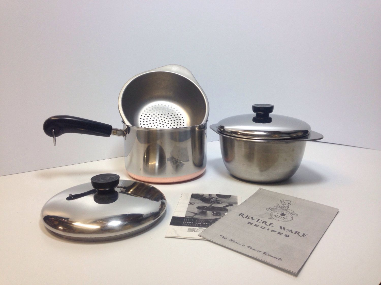 3 qt saucepan deep double boiler steamer w lids clinton usa copper bottom vtg