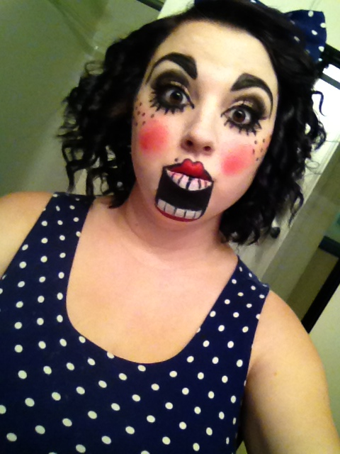 Ventriloquist doll makeup...my Halloween costume this year!! So excited.