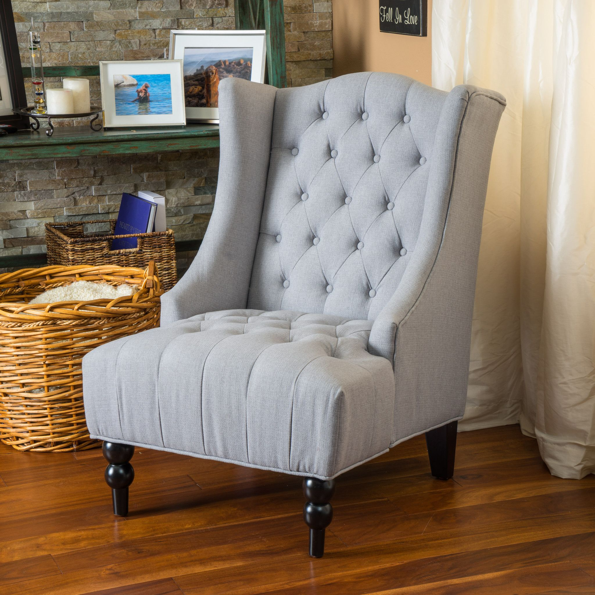 Clarice wingback tufted fabric accent chair high back