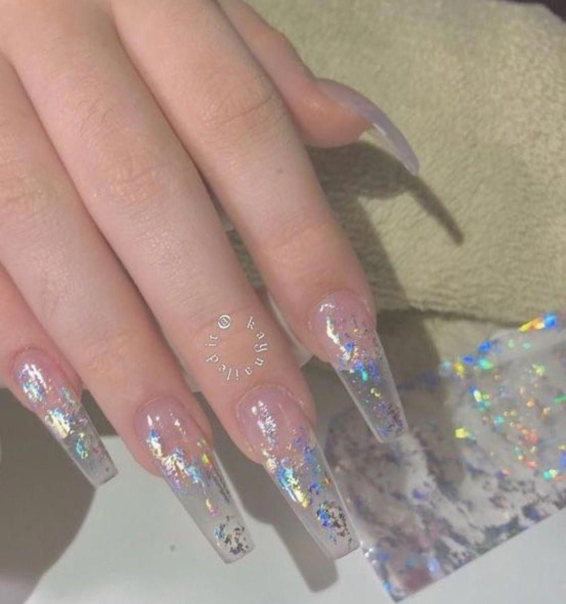 Look At These Stiletto Acrylic Nails Stilettoacrylicnails Acrylicnailsdesigns Holographicnails Holographic Nails Stiletto Acrylic Nails Clear Acrylic Nails