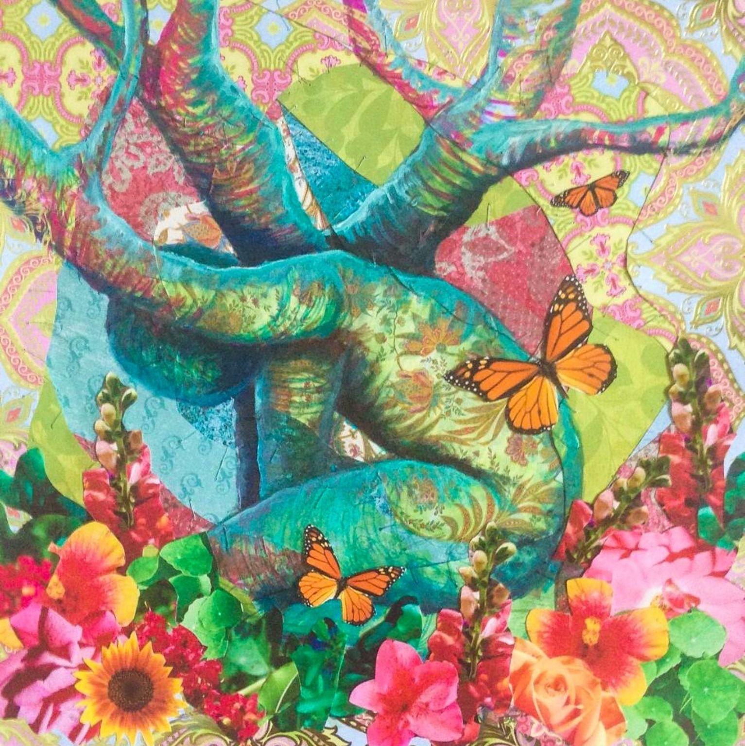 "'Spring Blossom ' by Denise Dmochowski   $250   16""W x 16""H x 1""D   Original Art   http://vng.io/l/0j5Hfzk-49 @VangoArt"