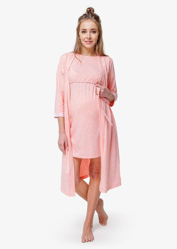 2c593676e0c0a Caty labor delivery robe & nightie Pink nursing SET Breastfeeding gown Pink maternity  robe Nursing n