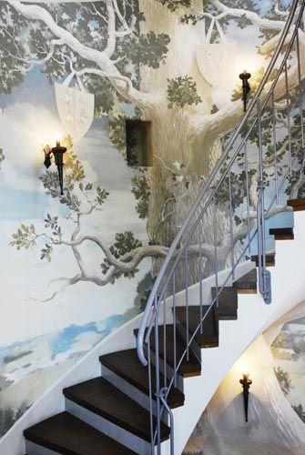 Painted tree mural at Hotel Schloss Ulrichshusen