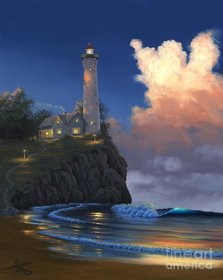 постер море с маяком мотивам сказки