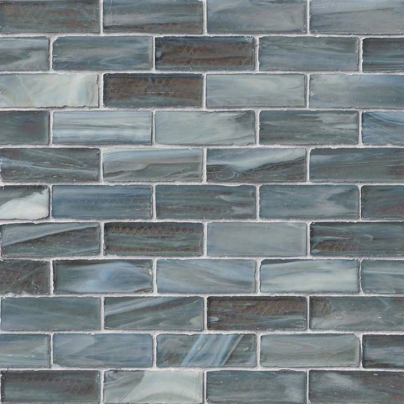 Best Oceano Brick 1X3X6 Mm Blue Gray Glass Mosaic Tile Wall 400 x 300