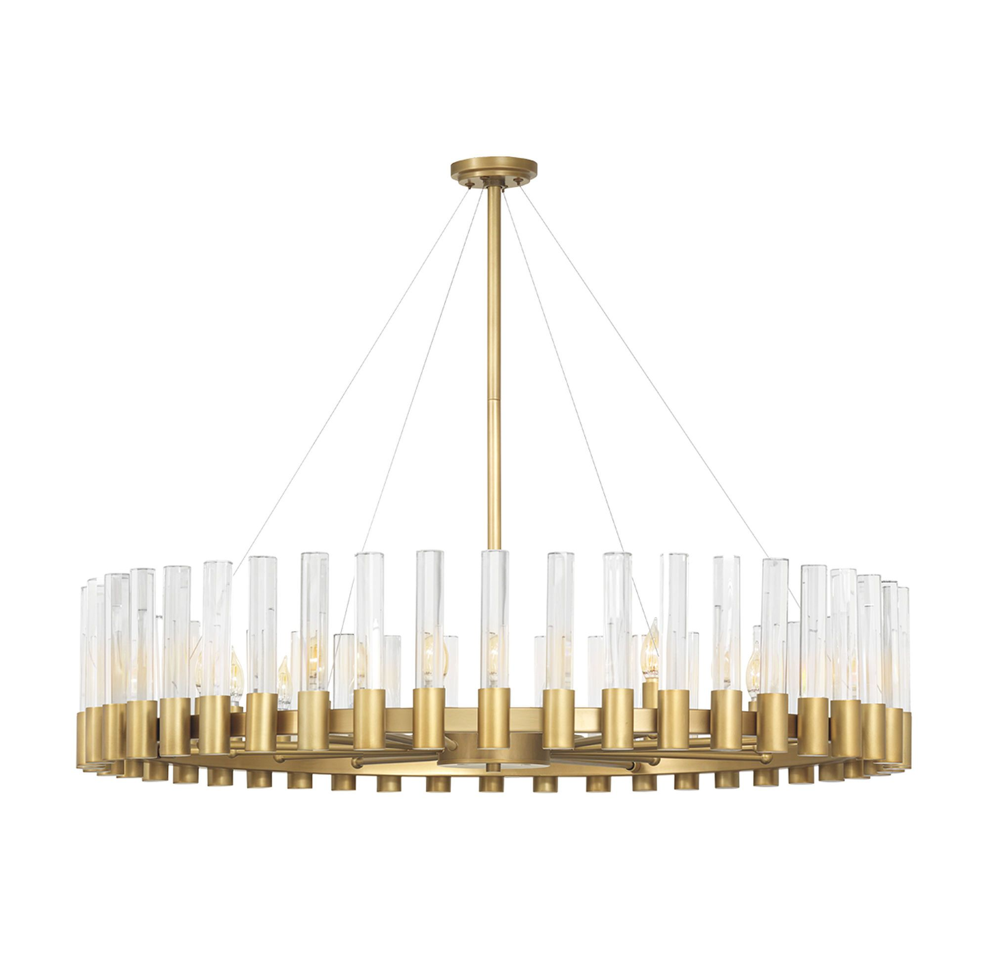 Perla Oval Chandelier Vintage Brass And Champagne Crystal