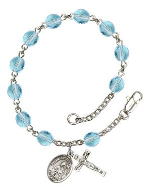 St. Malachy O'More Silver-Plated Rosary Bracelet with 6mm Aqua Fire Polished beads