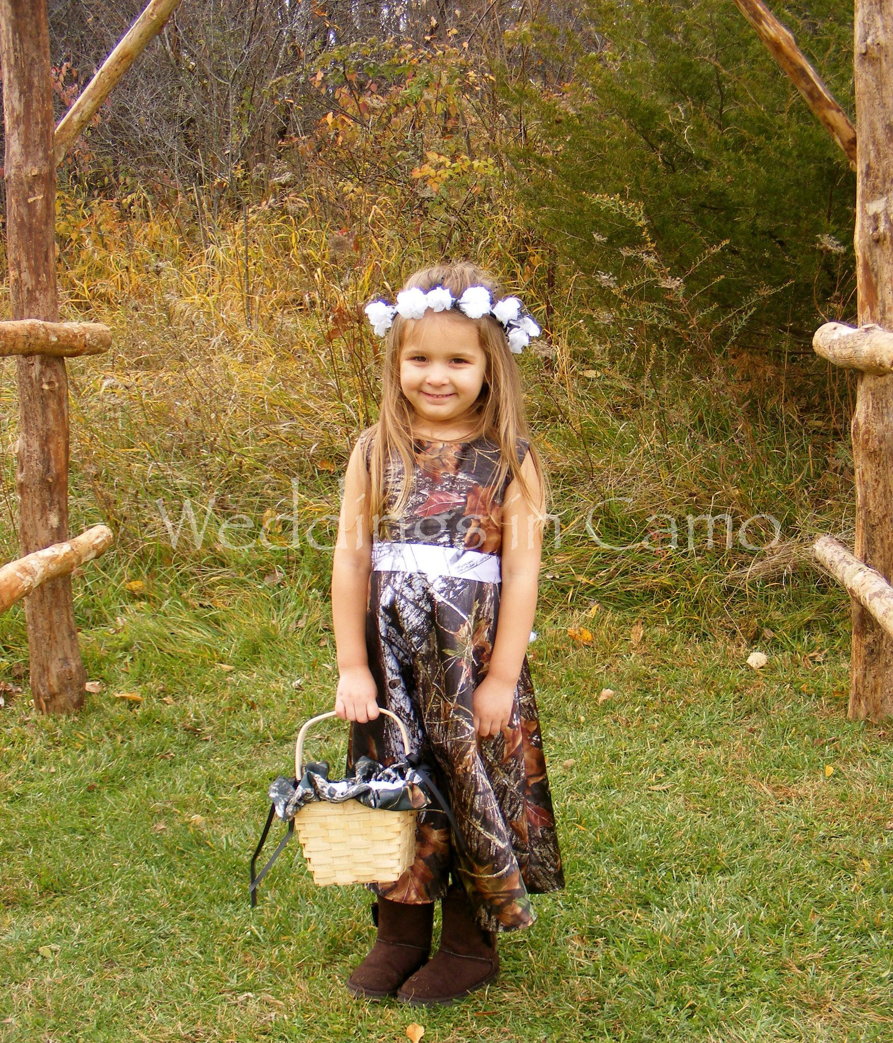 Weddings In Camo Simple Classic CAMO Flower Girl Dress With Ribbon Sash