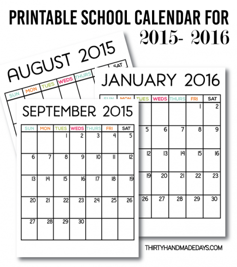 Printable School Calendar for 2015-2016. Download our free