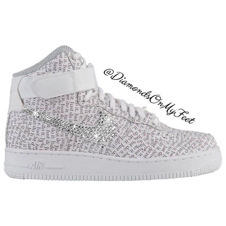 Swarovski Women S Nike Air Force 1 High White Just Do It Print