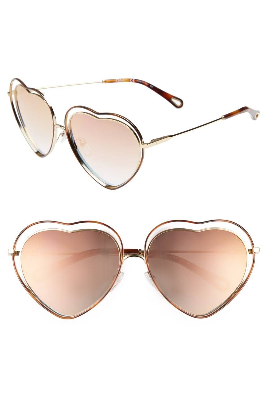 5ae15e6cafe Gradient lenses seem to float inside the heart-shaped frames of these  sweetly retro sunglasses crafted in Italy.Havana  Brown Peach - Chloé Poppy  Love Heart ...