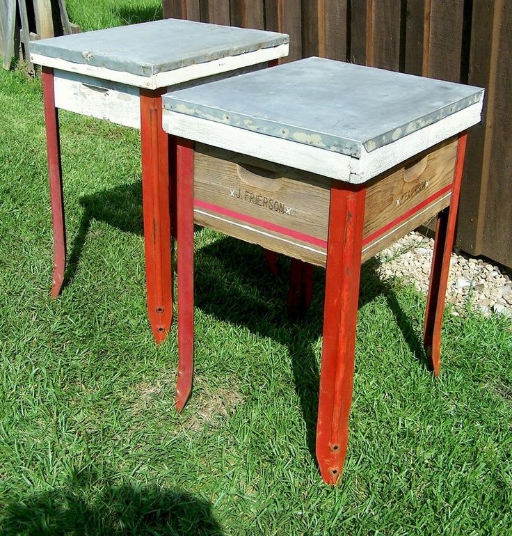 Use hive body roof attach table legs to make a chic shaker