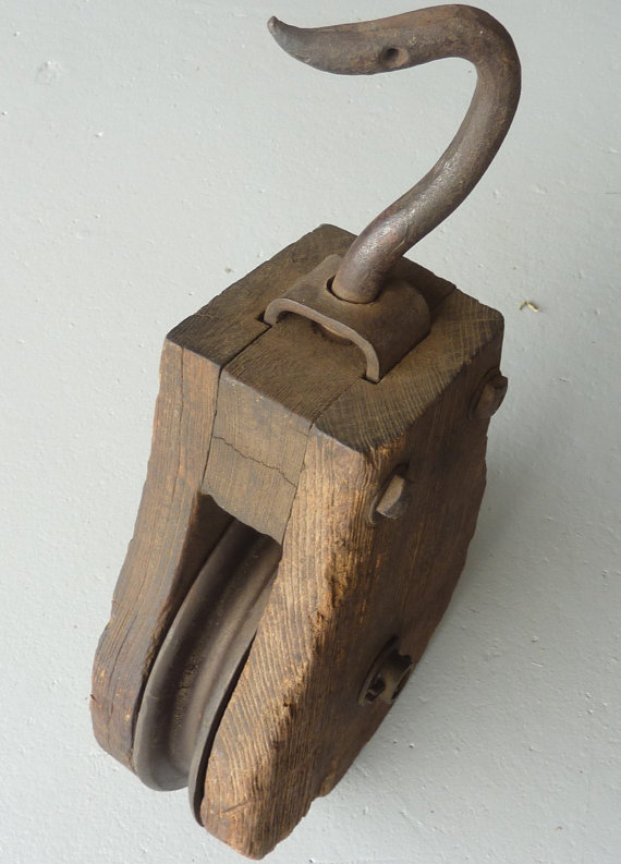 Vintage Wooden Barn Pulley