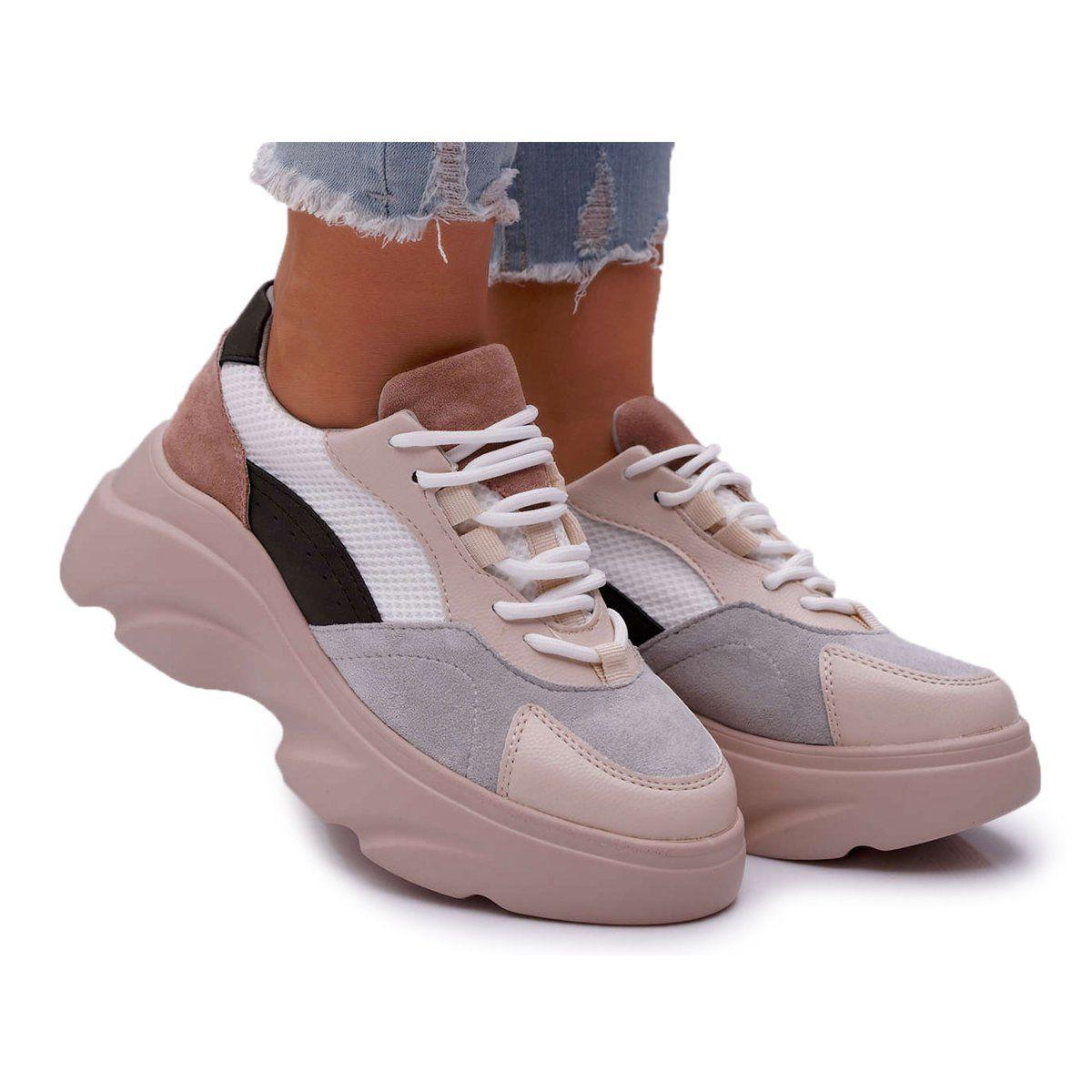 Sea Sportowe Damskie Buty Gruba Podeszwa Bezowe Cardamon Bezowy Brown Leather Sneakers Casual Sport Shoes Women Shoes