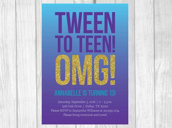 Custom Printable 5x7 Tween To Teen Girls 13th Thirteen Birthday Party Invitation
