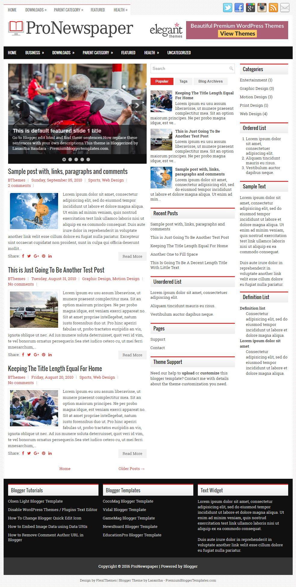 ProNewspaper Blogger Template | Blogger templates, Header ...