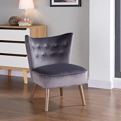 Ayoz Upholstered Velvet Mid Century Accent Chair in Grey Accent