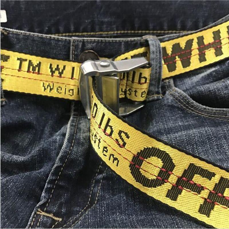 9c234f1f8cba Off White C O Virgil Abloh Belts men kanye west yellow embroidery hip hop  canvas belt women harajuku punk riem cinturones femme
