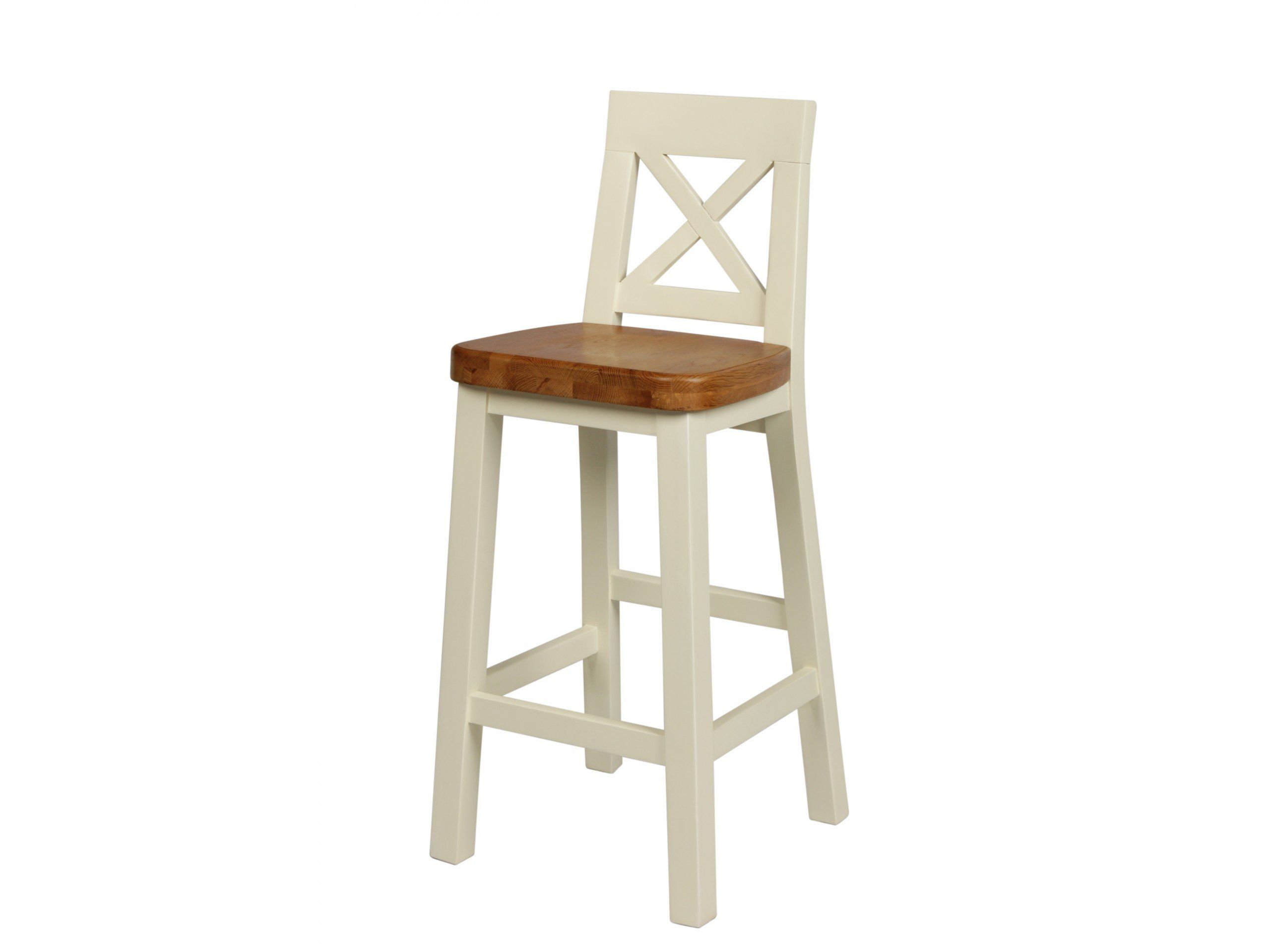 Billy Cream Painted Cross Back Bar Stool With Solid American Oak ...