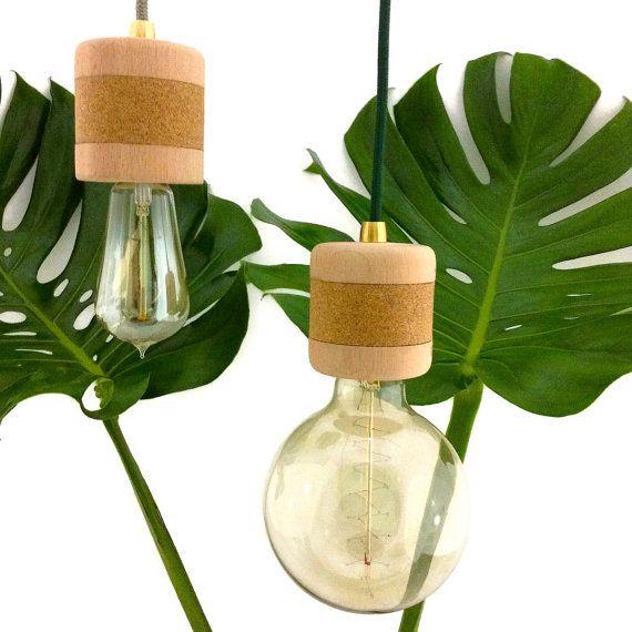 Wood Cork Pendant Light Wooden Pendant Lamp Edison by Lambater