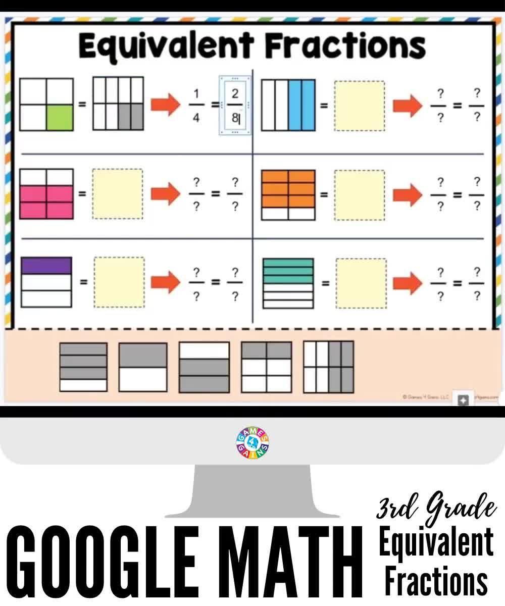 3rd Grade Equivalent Fractions Activities For Google Classroom Video In 2020 Google Classroom Math Third Grade Math Games Teaching Third Grade