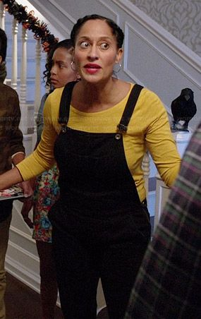 Rainbow's black overalls and yellow long sleeved top on Black-ish.  Outfit Details: http://wornontv.net/39400/ #Black-ish