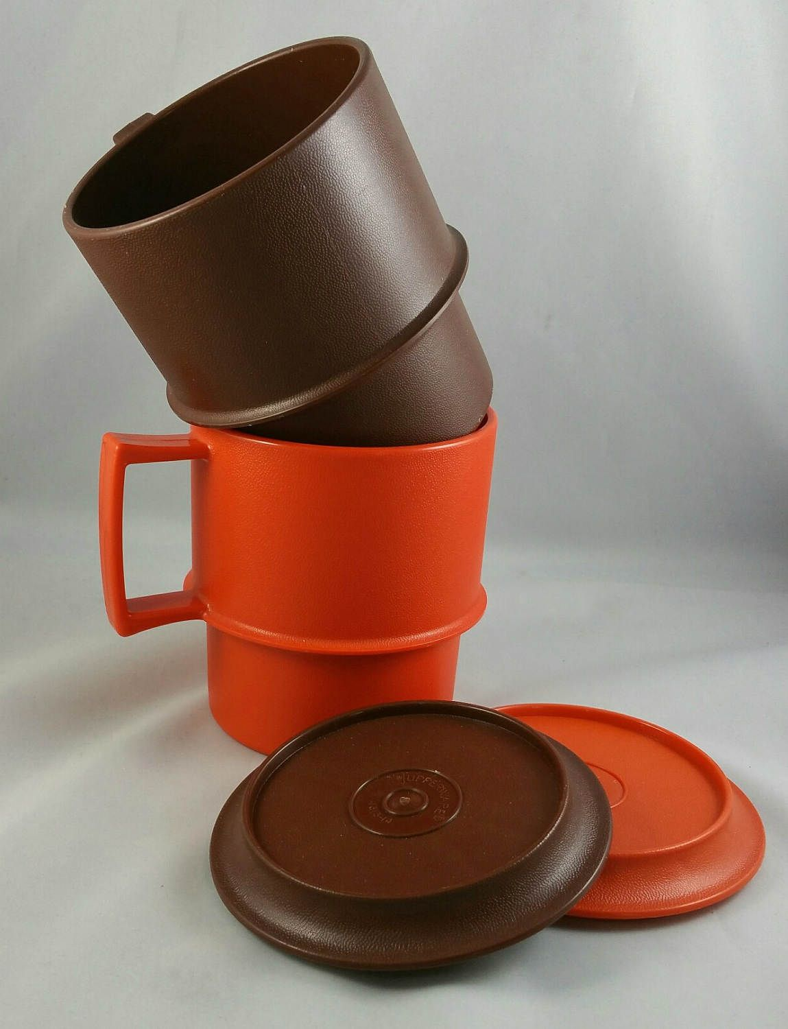 Vintage Tupperware Stacking Coffee Mugs With Coasters/Lids