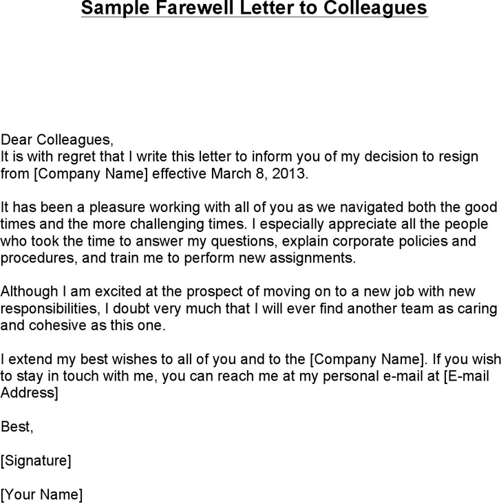 sample farewell letter colleagues dear with regret boss