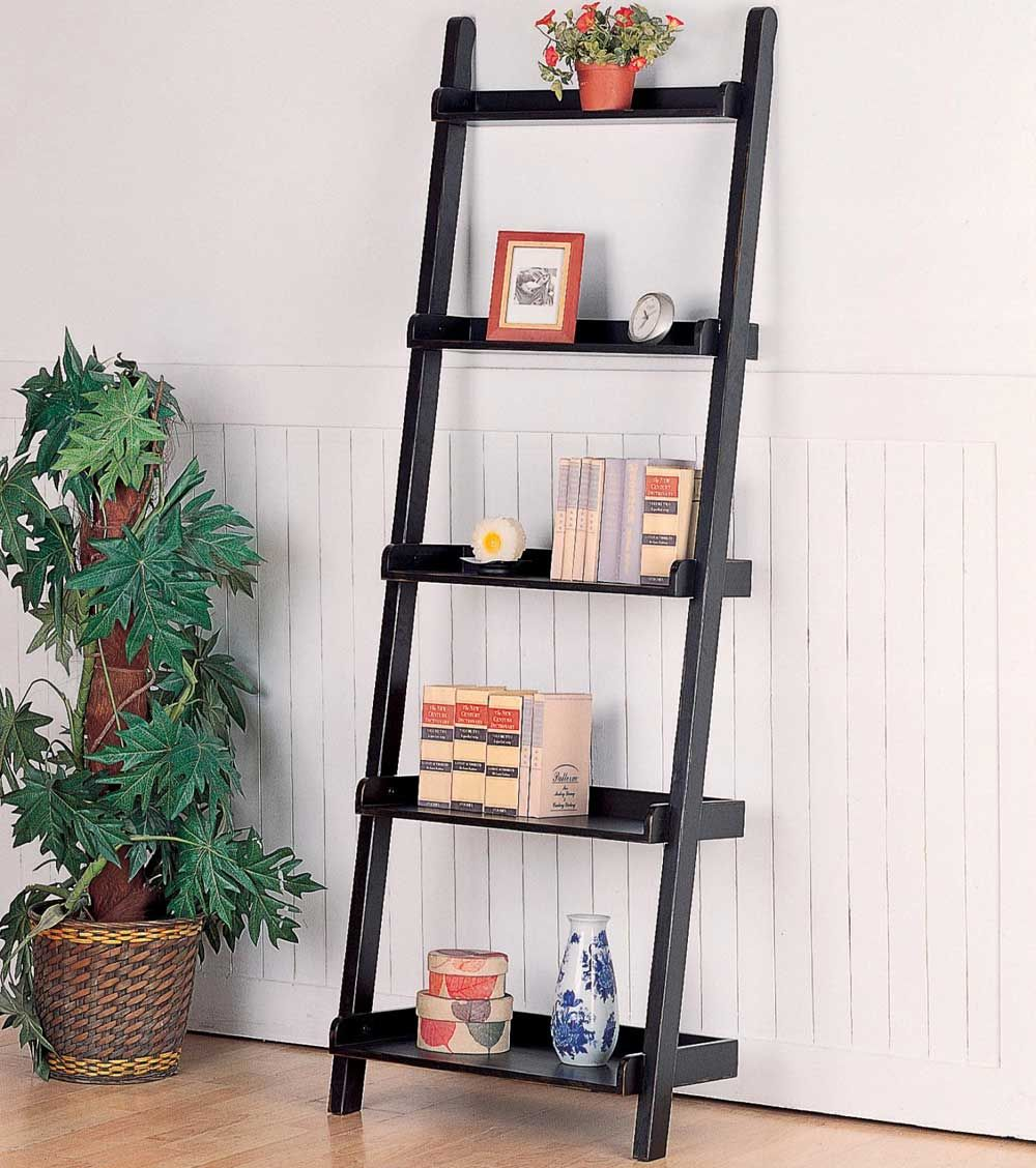 Superb Attractive Leaning Ladder Shelf For Middle Room Design Idea: Furniture  Leaning Bookcase With Leaning Ladder Shelf And White Wall Paint For Middle  Room ...