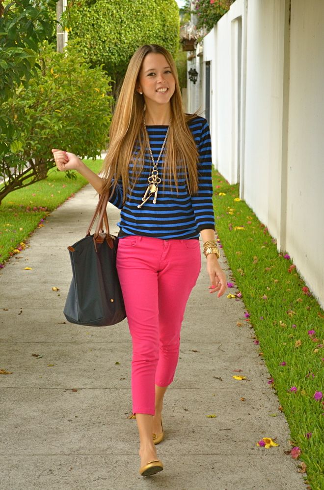 another way to wear my pink capris  hot pink pants pink