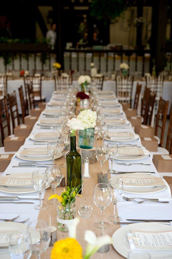 Navy Burlap Wedding Centerpiece Table Setting Do It Yourself J Crew
