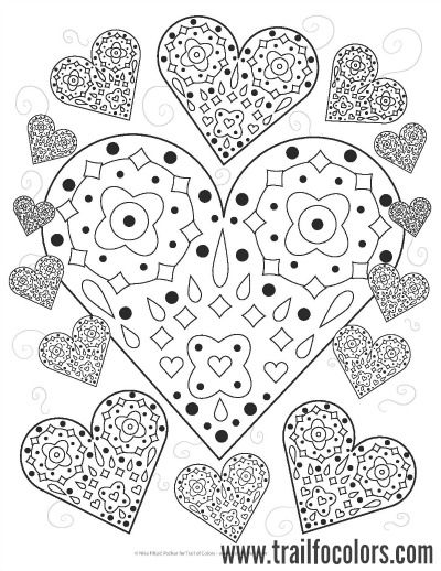 Lovely Hearts Coloring Page Free Printable Trail Of Colors Pattern Coloring Pages Heart Coloring Pages Valentine Coloring Pages