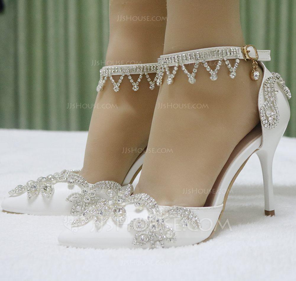 b6a1e13eca Women's Leatherette Stiletto Heel Closed Toe Pumps Sandals MaryJane With  Buckle Rhinestone Chain (047144244) - Wedding Shoes - JJsHouse