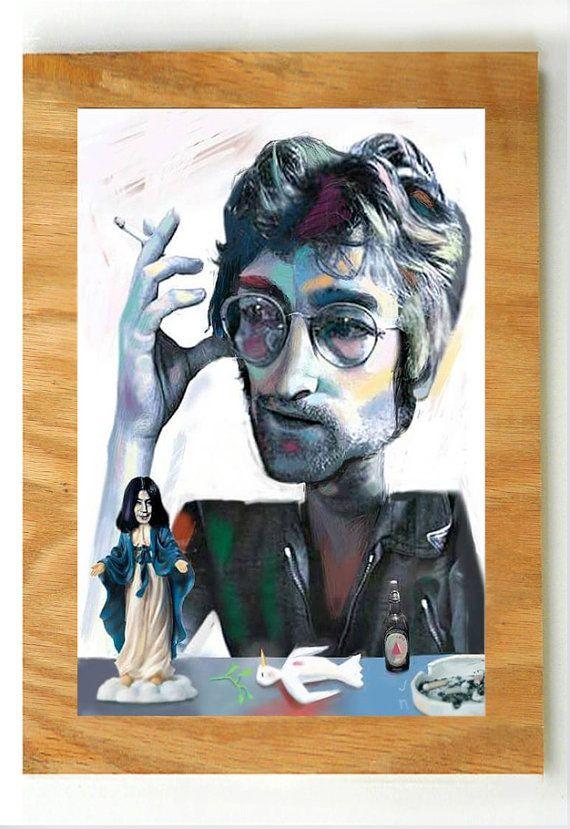 Imagine If  hand finished print by JohnNebraskaStudio on Etsy  Featuring John Lennon and Yoko Ono.