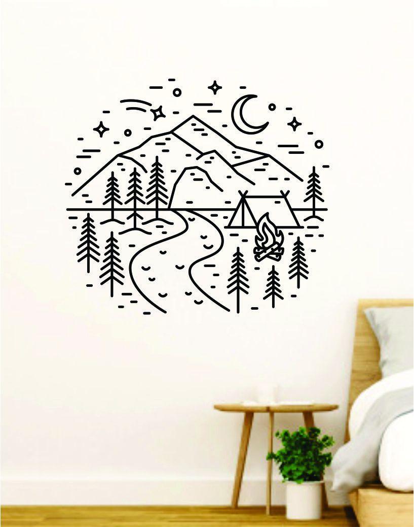 Adventure Circle V3 Camp Wall Decal Home Decor Art Sticker Vinyl Bedroom Boy Girl Teen Travel Mountains Hike Wanderlust School Nursery - vivid blue