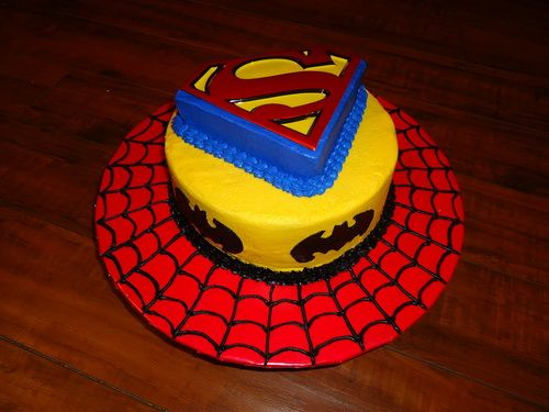 spiderman and superman birthday cake superhero design Superhero