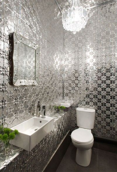 Using Pressed Tin Tiles In A Small Bathroom Industrial Bathroom Decor Tin Tiles Tin Kitchen