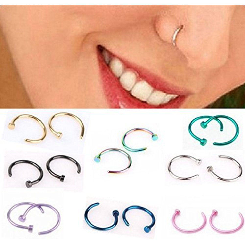 Nose piercing hoop vs stud  Hosaire Nose Ring Hoop pcs Steel Color Unisex Stainless Titanium
