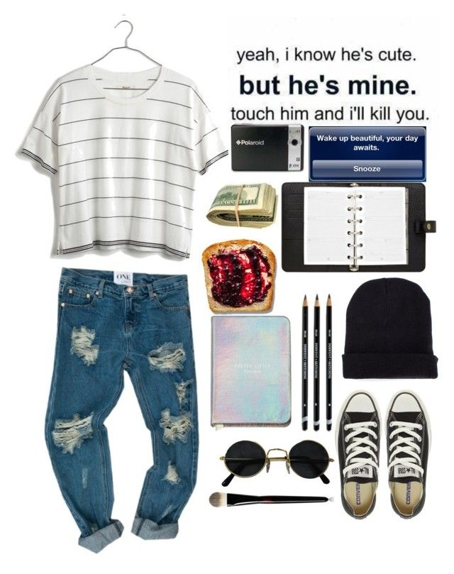 """""""Good morning"""" by theyoungestvolcano ❤ liked on Polyvore featuring Madewell, Mulberry, Polaroid, Yves Saint Laurent, Converse and Missguided"""