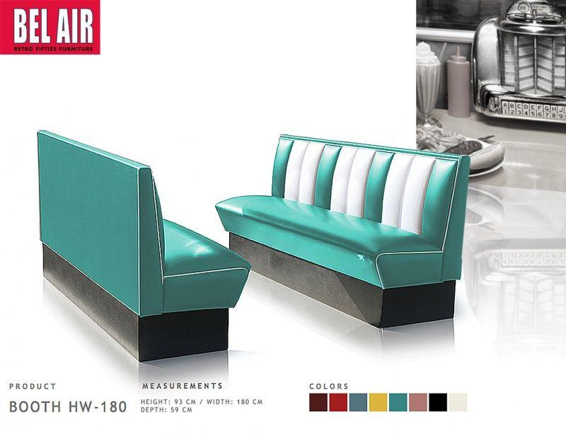 Bel Air Retro Furniture Diner Booth HW 180 Fifties / TURQUOISE Vintage  Amerikaanse Meubels.