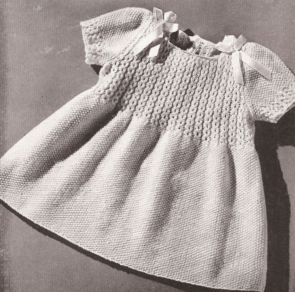 Vntg Knitting Pattern Toddler Coat Hat Dress Smocking