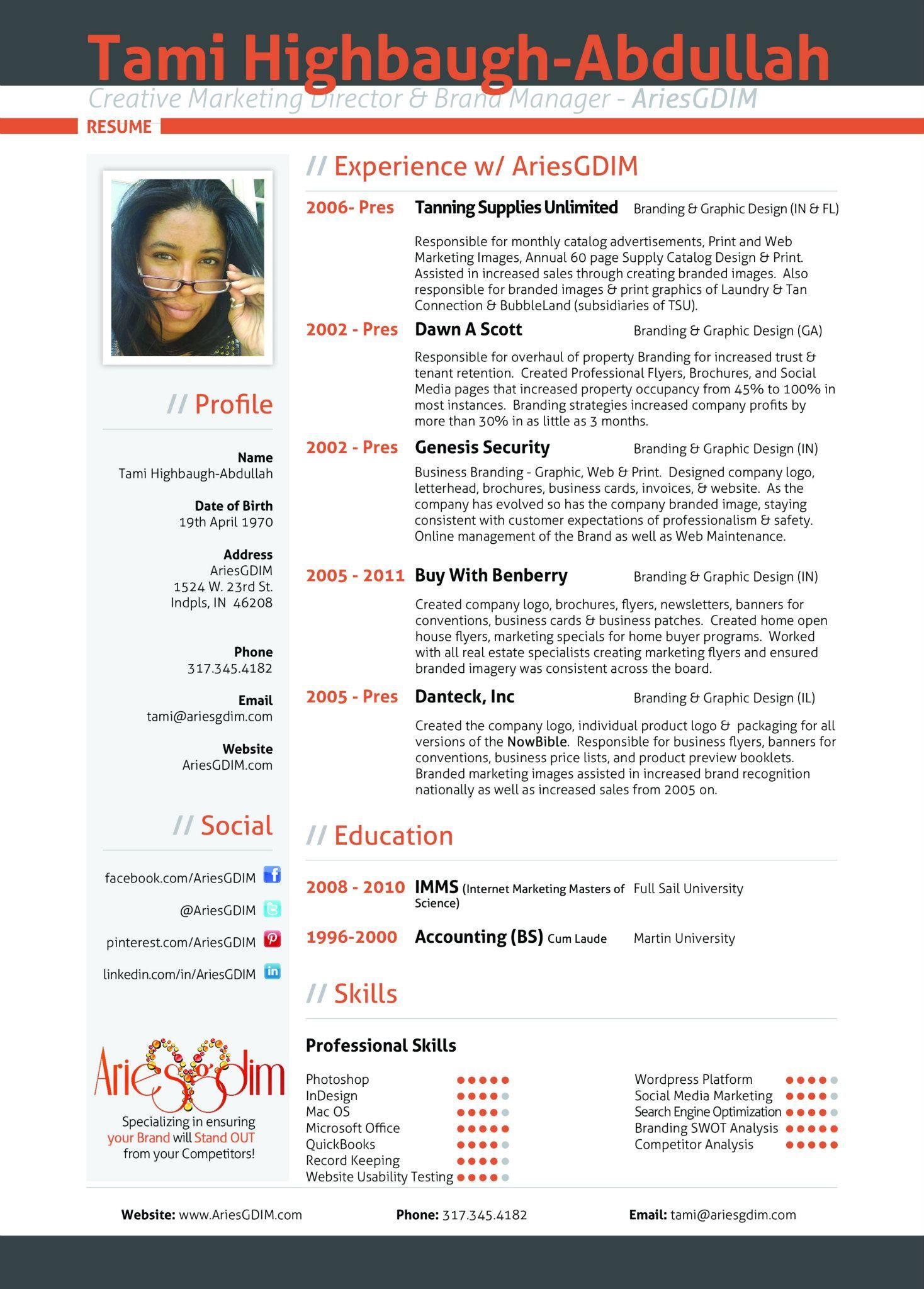 Ariesgdim Resume  Custom Resume Design  Graphic Design