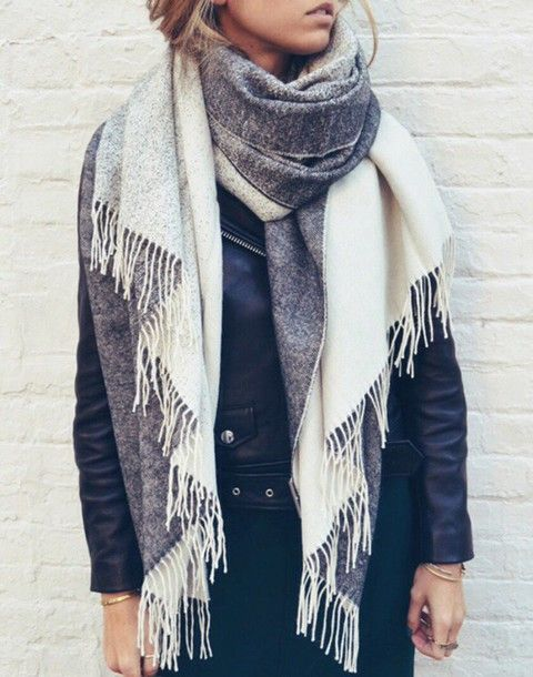 Scarf: grey blanket grey leather jacket fall accessories