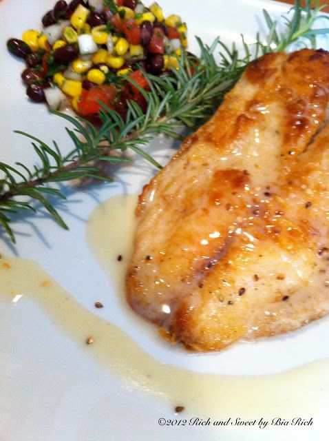 Rich and Sweet by Bia Rich: Pan Fried Tilapia with Rosemary Lime Beurre Blanc