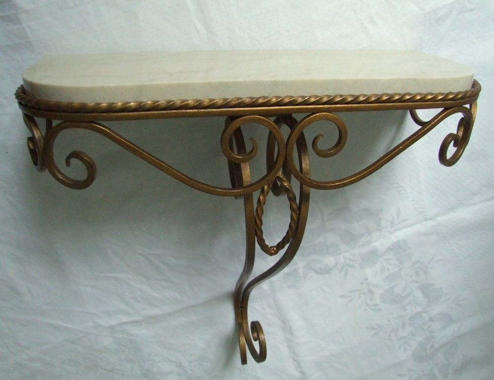 Cream Hall Table vintage cream marble and gilt iron console hall table wall hanging