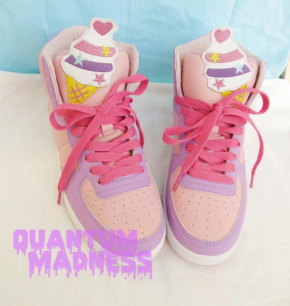 fairy kei harajuku jfashion decora woman pastel fahion Cute kawaii sneakersshoes with unicorn cake pattern girls shoes