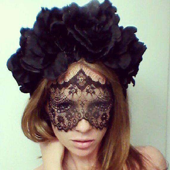 Black Flower Crown Gothic Flower Crown Black Flower: Black Rose Flower Crown And Mask